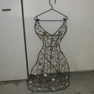 Black Metal Wire Dress Form Mannequin Wall Hanging Jewelry Tree Euc