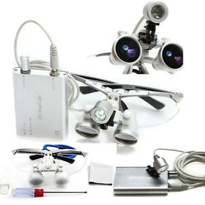 3 5x420 Dental Surgical Binocular Loupes led Head Light Optical Glass Dentist Us