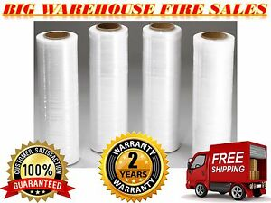 4 Rolls 18 x 1500ft 80 Gauge Pallet Wrap Clr Stretch Film Shrink Hand Wrap