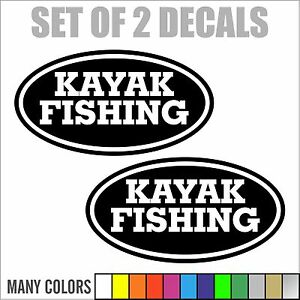 2 Kayak Fishing Boat Car Truck Bumper Vinyl Decals Sticker 14 Colors