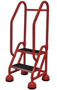 2 Steps 18 H Steel Rolling Ladder 450 Lb Load Capacity