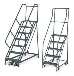 3 Steps 30 H Steel Rolling Ladder 450 Lb Load Capacity
