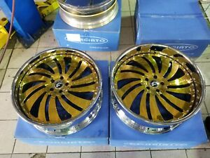 24 Forgiato Canale Gold Wheels 5x4 3 4 Box Chevy Cutlass Chevelle Buick Donk