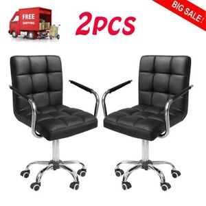 Modern Leather Office Chair Gas Lift Swivel Executive Computer Desk 2pcs Oy