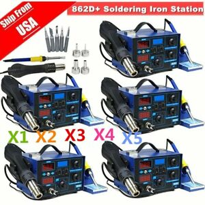 Lot 5x Soldering Rework Stations Smd Hot Air Iron Desoldering Welder Esd 862d