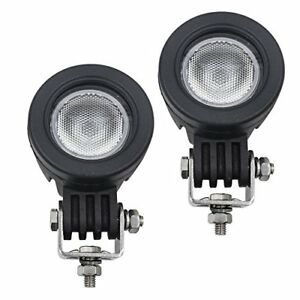 Weisiji 2 Pcs Led Flood Driving Lights 10w Mini Round Tail Cree Motorcycle Lamp