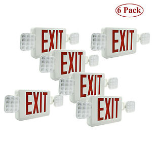 6 Pack Led Exit Sign Emergency Lighting Red green Letters Compact Combo Ul 924