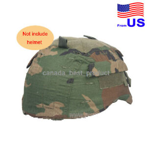 EMERSON Airsoft Tactical MICH 2001 Helmet Nylon Cover With Back Woodland USA $17.99