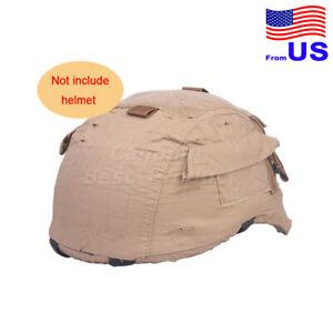 Tactical Military Airsoft Hunting Helmet Cover W Back Pouch for MICH 2001 CB