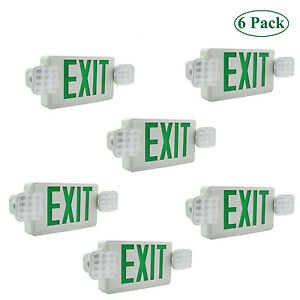 Led Exit Sign Emergency Lighting Green Compact Combo Ul 924 Dual single Face