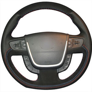 Hand Stitch Black Leather Black Suede Car Steering Wheel Cover For Peugeot 508