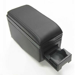 Black Leather Armrest Arm Rest Console Cup Holder For Bmw E30 E32 E34 E36 E46