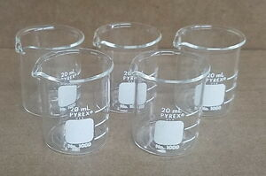 Lot Of 10 Corning Pyrex 1000 Griffin Low Form Glass Beakers 20ml