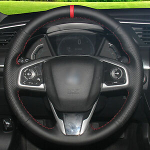 Top Black Leather Hand Stitched Car Steering Wheel Cover For Honda Civic 2016
