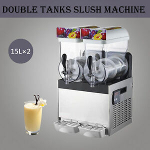 2 Tank Frozen Drink Slush Maker Slushy Make Machine Smoothie