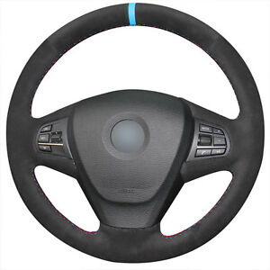 Hand stitched Black Suede Blue Marker Car Steering Wheel Cover For Bmw X3