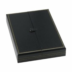 3 Large Black Necklace Snap Lid Gift Boxes Display Box