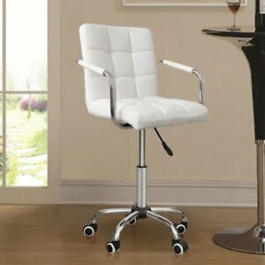 Executive Home Office Chair Pu Leather Computer Desk Task Gas lift Swivel White