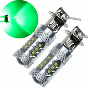 1pair H3 80w Bright Led Green Fog Tail Turn Signal Drl Head Car Lamp Light Bulbs