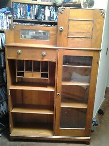 Antique Oak Side By Side Drop Front Secretary Desk With Bookcase And Cabinet
