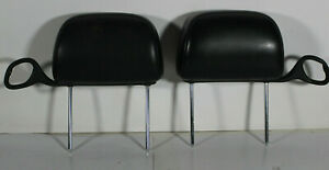 Pair 00 05 Chevy Monte Carlo Rh Lh Black Leather Headrests With Seat Belt Guide