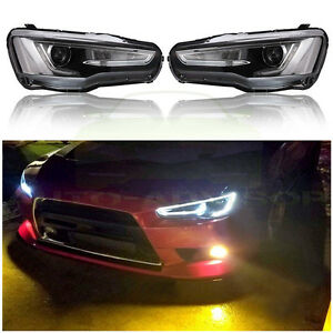 For Mitsubishi Lancer Evo 2008 2017 Led Drl Headlights Headlamp Audi A5 Style