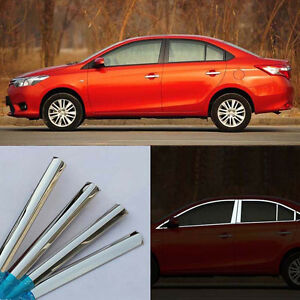 For Toyota Vios 14 2016 Stainless Steel Chrome Full Window Frame Sill Trim 24pcs