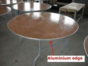 New 60 Round Wood Folding Tables Table W Aluminum Edge Party Event Rentals