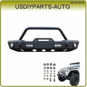 For 07 17 Jeep Wrangler Jk Black Front Bumper W Winch Plate Without 4 Led Lights
