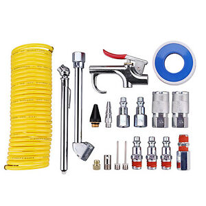 Air Compressor Accessory Kit And 1 4 X25ft Coil Nylon Hose 1 4 Npt Air Tool Kit