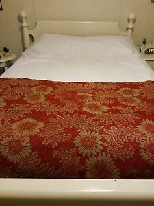 Antique Reversible Coverlet Section Red Cream Wool Hand Woven 35 X 88