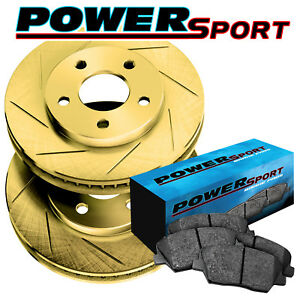 Fit 1992 Jeep Cherokee Front Psport Gold Slotted Brake Rotors ceramic Brake Pads