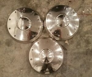1961 1962 Ford Fairlane 10 1 2 Dog Dish Hub Caps Stainless Galaxie Falcon Oem