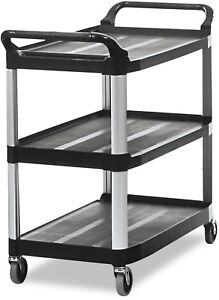 Rubbermaid 409100 Bla Xtra Service And Utility Cart 3 shelf Open sided Black