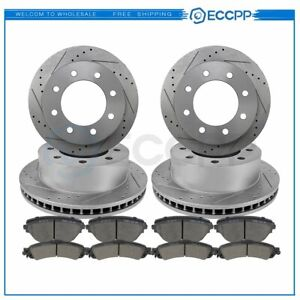 For Ford F 250 F 350 Front Rear Drilled Slotted Brake Rotors Discs Ceramic Pads