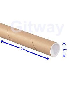 2 X 24 Cardboard Poster Shipping Mailing Packing Postal Tube 2x24 Box Tubes