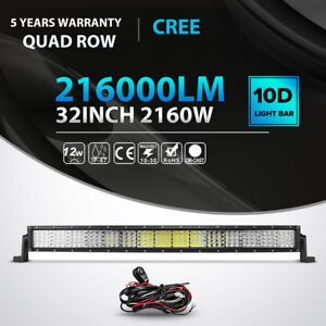 Quad Row 32inch 2160w Led Light Bar Combo Offroad Truck Fit For Ford Jeep Atv