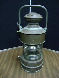 Marine Oil Ship Antique Brass Lamp Lantern Converted To Electric Marked
