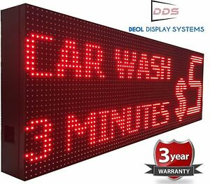 12 X 88 Digital Led Sign Programmable Outdoor Red Color Scrolling Text Open