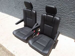 2 Black Leather Seats White Stitched Truck Van Bus Rv Hotrod Classic Car Jeep