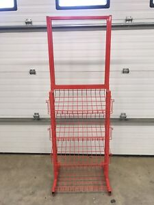 Metal Wire Retail Store Display Rack With 3 Shelves 6 Pamphlet Holders