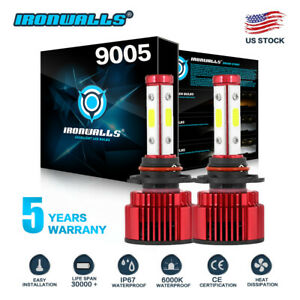 9005 Hb3 4 Sides Led Headlights Bulb Hi Lo Super Bright 6000k 2400w 360000lm Hid