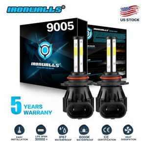 9005 Hb3 4 Sides Led Headlights Bulb High Beam Super Bright 6000k 1700w 255000lm