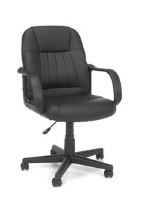 Executive Conference Round Back Office Chair In Black Softthread Leather