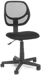 Mid back Armless Office Reception Task Chair In Black Mesh W Adjustable Height