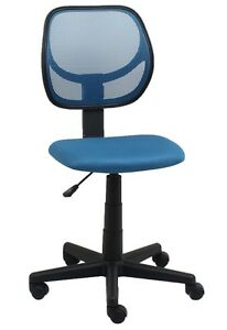 Mid back Armless Office Reception Task Chair In Blue Mesh W Adjustable Height