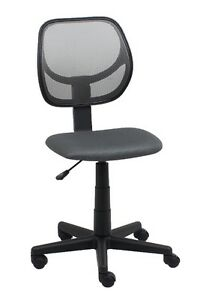 Mid back Armless Office Reception Task Chair In Gray Mesh W Adjustable Height