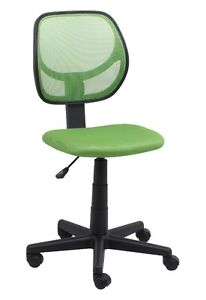 Mid back Armless Office Reception Task Chair In Green Mesh W Adjustable Height