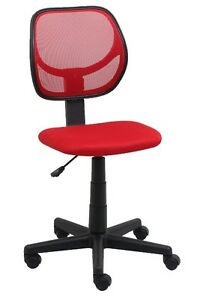 Mid back Armless Office Reception Task Chair In Red Mesh W Adjustable Height