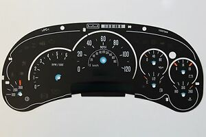 Used 03 05 Factory Cadillac Escalade Classic Cluster Gauge Face Overlay Only